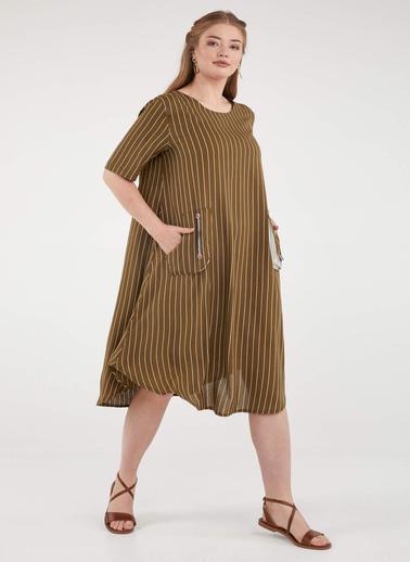 Sementa Kadın Çizgili Büyük Beden Cep Detaylı Elbise - Haki Haki